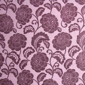 Camden - Dusk - Polyester fabric in dusky pink, with an aubergine coloured floral pattern which has a slight sheen to it