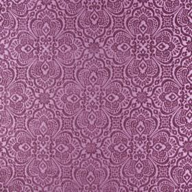 Lambeth - Dusk - Dusky pink and light aubergine coloured fabric made from 100% polyester, with large, ornate, intricate patterns