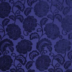 Camden - Royal - Royal blue coloured floral fabric made from polyester, with the pattern having a slight sheen to it