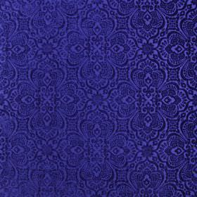 Lambeth - Royal - 100% polyester fabric with a very ornate pattern on a plain background, both in a bright shade of Royal blue