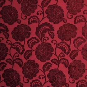 Camden - Bordeaux - Floral patterned fabric made from polyester in a deep claret colour, with a slight sheen on the pattern