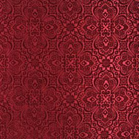 Lambeth - Bordeaux - A scarlet coloured pattern which is large, ornate and intricate, with a slight sheen, on dark red polyester fabric