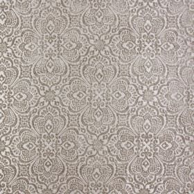 Lambeth - Sable - Ornate silver patterns on a pale grey-white coloured fabric background made entirely from polyester