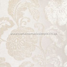Camden - Shampagne - Subtle ivory coloured floral patterning which has a slight sheen on a white polyester fabric background