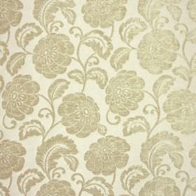 Camden - Honey - Slightly shiny pewter coloured flowers and vines on a background of pale grey fabric made from polyester