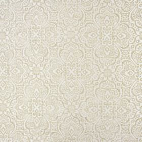 Lambeth - Honey - Polyester fabric in off-white, covered with large, detailed patterns in a slightly metallic shade of light brown
