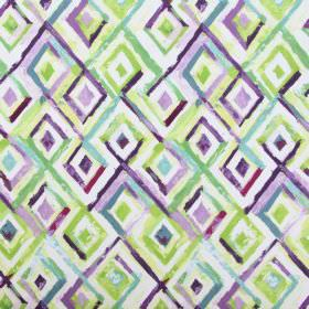 Sirocco - Cassis - Roughly painted diamond shapes in shades of purple, green, dusky blue and white on 100% cotton fabric