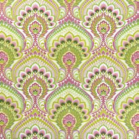 Nikita - Orchid - Cotton fabric in white, covered with large, intricate designs in bright shades of rose pink and apple green