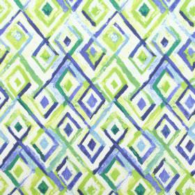 Sirocco - Azure - Fabric made from white cotton, covered with rough diamond shapes in various shades of blue and green