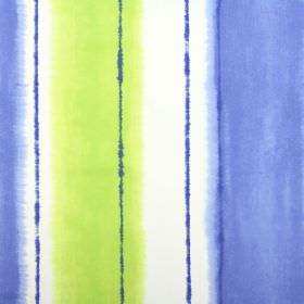 Pasha - Azure - Blurred vertical stripes in several different shades of cobalt blue against a white cotton fabric background