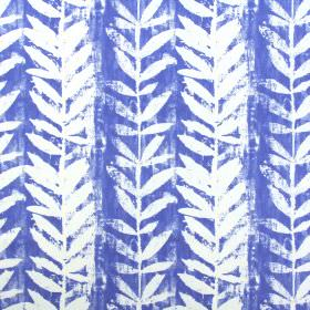 Morella - Azure - White and Royal blue coloured 100% cotton fabric with a roughly printed design of simple leaves and vertical vines