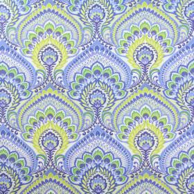 Nikita - Azure - Various shades of green and blue making up large, repeated, intricate designs on white cotton fabric