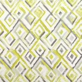 Sirocco - Sulphur - White, olive green and several different shades of grey making up the rough diamond pattern on 100% cotton fabric