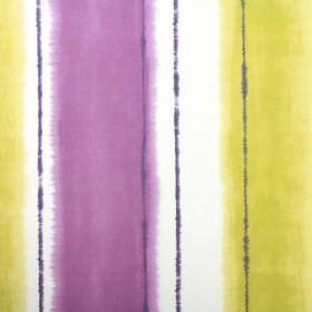 Pasha - Cassis - 100% cotton fabric in white, with blurry vertical stripes in two different bright shades of purple