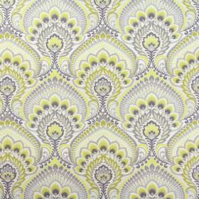 Nikita - Sulphur - 100% cotton fabric with large, repeated, ornate designs featuring shades of grey as well as pale yellow and gold colours