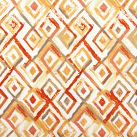 Sirocco - Mandarin - Warm reds and oranges alongside grey and white on cotton fabric to create a pattern of roughly painted diamond shapes