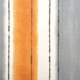 Pasha - Mandarin - Fabric made from white cotton, patterned with blurred grey stripes and vertical dark brown lines