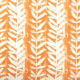 Morella - Mandarin - Fabric made from cotton in a bright shade of orange, roughly printed with a simple design of white vines and leaves
