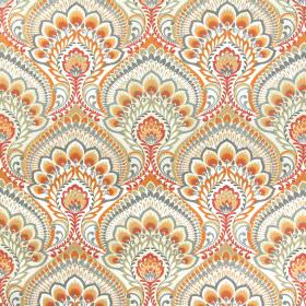 Nikita - Mandarin - Large orange, grey and light brown patterns which are very ornate on a 100% cotton fabric background in white