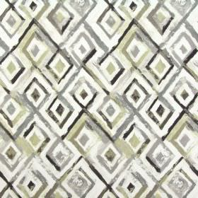 Sirocco - Tabacco - Various shades of grey and cream making up 100% cotton fabric's design of roughly printed diamond shapes