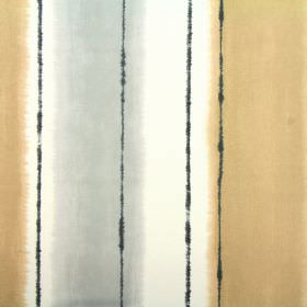 Pasha - Tabacco - A golden cream coloured blurred stripe beside dark grey vertical lines on a white 100% cotton fabric background