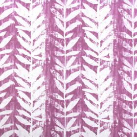 Morella - Cassis - Vertical vines with stylised leaves printed roughly in white on a pink-purple cotton fabric background