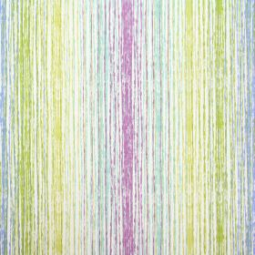 Azura - Cassis - White fabric made entirely from cotton as a background to rough vertical lines in lime green, light blue and purple-pink