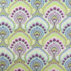 Nikita - Cassis - Large, ornate patterns in bright colours such as blue, pink-purple and lime green on fabric made from white cotton