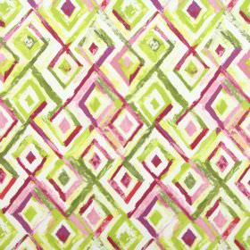 Sirocco - Orchid - Various shades of pink and green making up the rough diamond designs on white fabric made from cotton