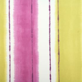Pasha - Orchid - Fabric made from white cotton behind blurred vertical stripes in bright pink-purple, as well as citrus yellow
