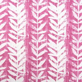 Morella - Orchid - Hot pink cotton fabric as a background to a roughly printed design of white vines and stylised leaves