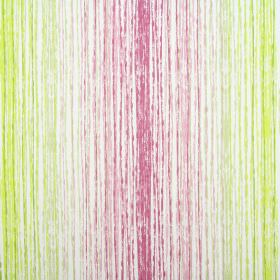 Azura - Orchid - Rough pink and green lines making up a vertical pattern on fabric made from cotton in white