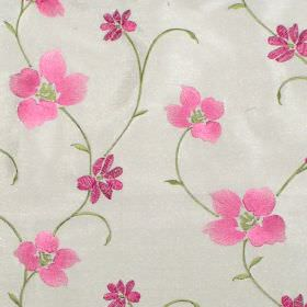 Zara - Carnation - Carnation pink stitched floral pattern on white fabric