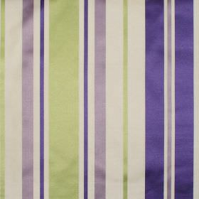 Zoe - Lavender - Lavender purple and green stripes on white fabric
