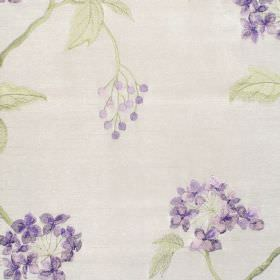Nina - Lavender - Classic lavender purple floral pattern on white fabric