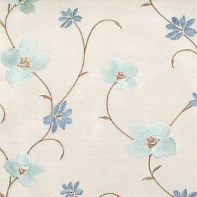 Zara - Azure - Azure blue stitched floral pattern on white fabric