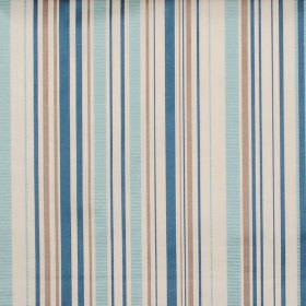 Tilly - Azure - Azure blue and sandy stripes on white fabric