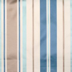Zoe - Azure - Azure blue and brown stripes on white fabric