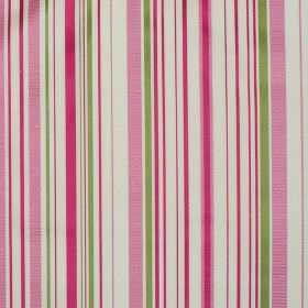 Tilly - Carnation - Carnation pink and green stripes on white fabric
