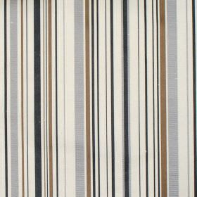 Tilly - Silver - Silver grey and brown stripes on white fabric