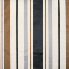 Zoe - Silver - Silver grey and brown stripes on white fabric