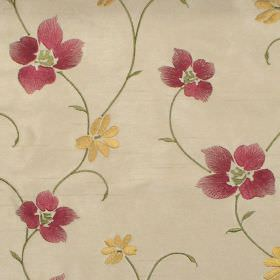 Zara - Antique - Antique yellow stitched floral pattern on white fabric