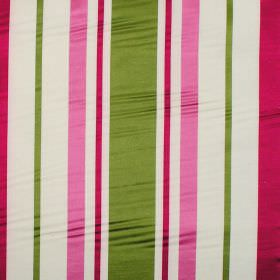 Zoe - Carnation - Carnation pink and green stripes on white fabric