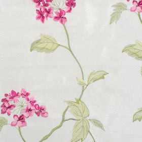 Nina - Carnation - Classic carnation pink floral pattern on white fabric