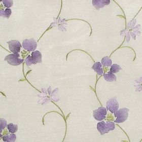 Zara - Lavender - Lavender purple stitched floral pattern on white fabric