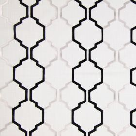 Helix - Stone - Stone sandy fabric with black modern chain pattern