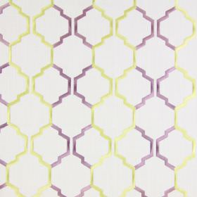 Helix - Lavender - Light sandy fabric with a lavender purple and yellow modern chain pattern