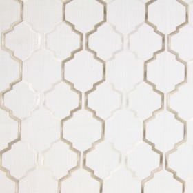 Helix - Linen - Light sandy fabric with a linen brown modern chain pattern