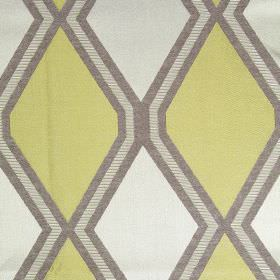 Tetra - Lime - Light gold fabric with lime green diamond patterns