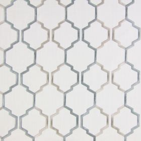 Helix - Duck Egg - Dark sandy fabric with duckegg blue modern chain pattern